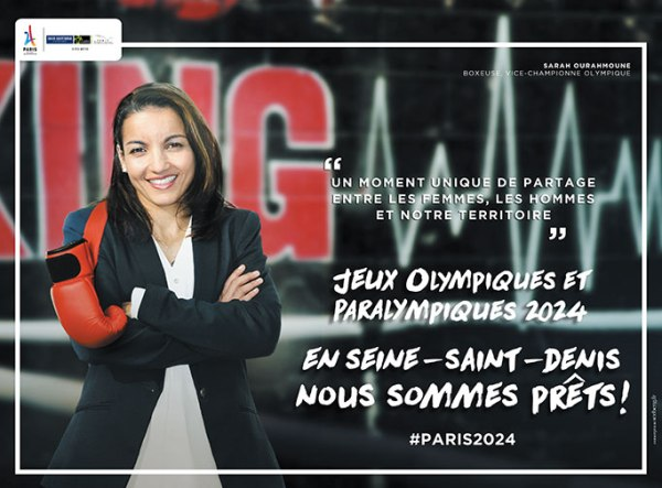 La boxeuse, médaillée aux Jeux de Rio 2016, Sarah Ourahmoune, est l'un des visages de la campagne de communication (Crédits - Département de la Seine-Saint-Denis)