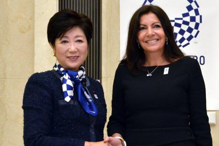 Yuriko Koike, Gouverneure de Tokyo, et Anne Hidalgo, Maire de Paris (Crédits - Anne Hidalgo / Page Twitter)
