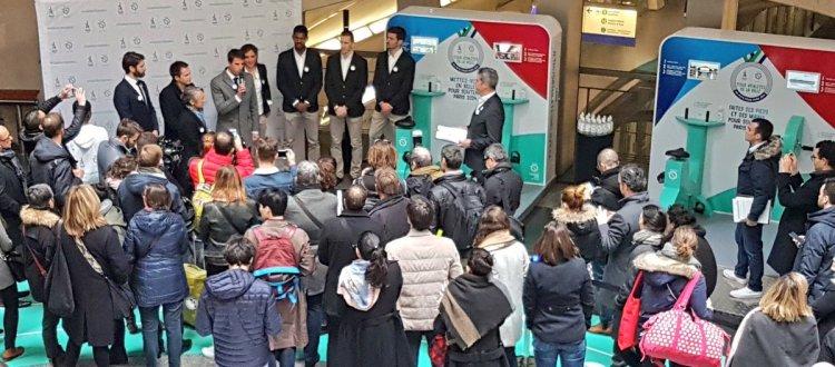 L'inauguration de l'initiative de la RATP s'est notamment déroulée en présence de Tony Estanguet, coprésident de Paris 2024 ; Elizabeth Borne, Présidente de la RATP ; et Pierre-Yves Bournazel, Délégué spécial auprès de la Présidente de Région en charge du projet olympique et paralympique (Crédits - Paris 2024)