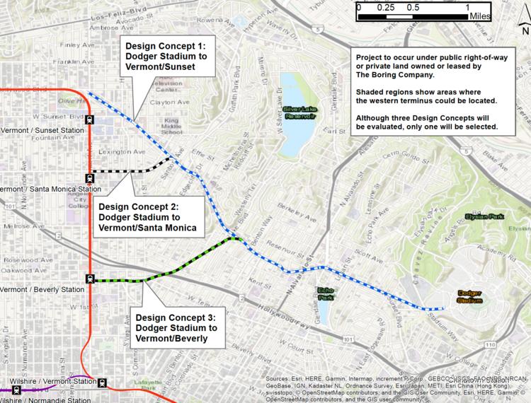 Carte Des Trois Options Pour Lamnagement Du Tunnel Dugout Loop Los Angeles Crdits The Boring Company